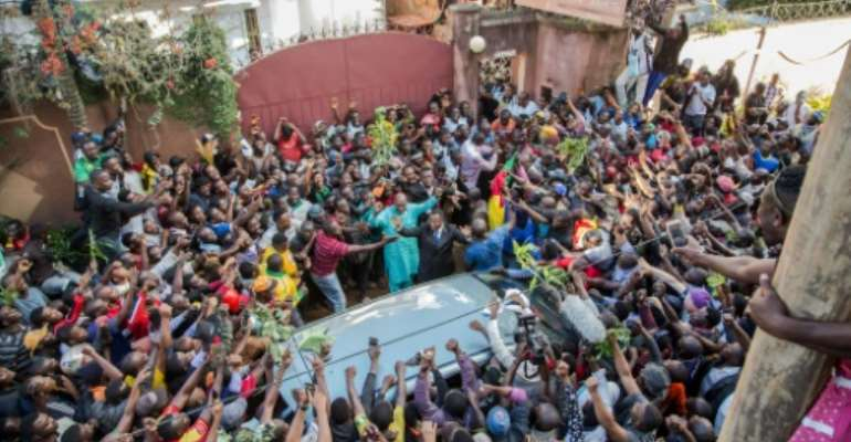 Cameroonian opposition leader Maurice Kamto was greeted and acclaimed by hundreds of supporters.  By STRINGER (AFP/File)