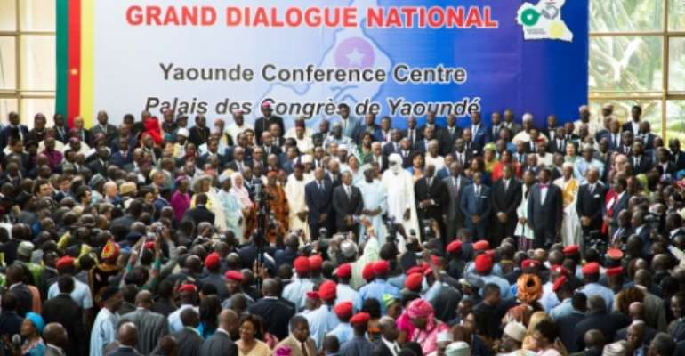 Cameroonian Prime Minister Joseph Dion Ngute presides over the opening of a national dialogue on the anglophone crisis in September 2019.  By Stringer (AFP/File)