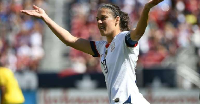 Carli Lloyd celebrates her goal in the United States 3-0 victory over South Africa, part of the Americans' build up to their Women's World Cup title defense.  By Robert Reiners (GETTY IMAGES NORTH AMERICA/AFP)