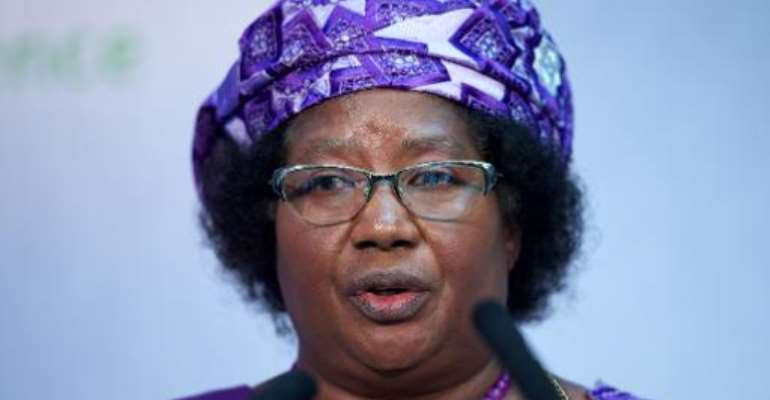 President of Malawi Joyce Banda addresses the Nutrition for Growth global hunger summit in central London on June 8, 2013.  By Andrew Cowie (AFP/File)