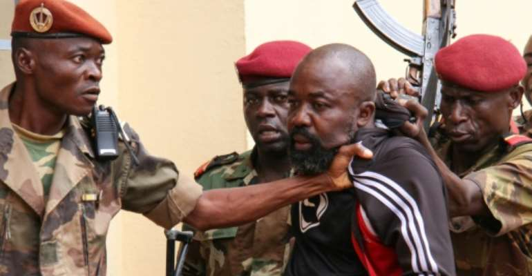 Central African Republic MP Alfred Yekatom was arrested in October after he fired a gun inside the parliament in Bangui.  By Gael GRILHOT (AFP/File)