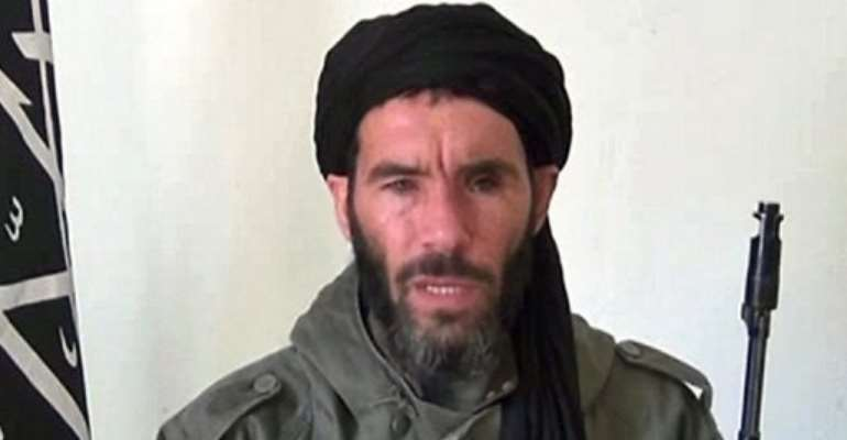 An undated grab from a video obtained by Mauritanian news agency reportedly shows jihadist commander Mokhtar Belmokhtar.  By  (ANI/AFP/File)