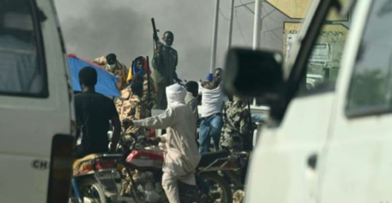 Chad police clash with opposition demonstrators in N'Djamena.  By Issouf SANOGO (AFP/File)