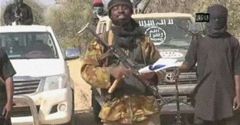Boko Haram leader Abubakar Shekau is seen in a video released by the Islamist extremist group in January.  By  (Boko Haram/AFP/File)
