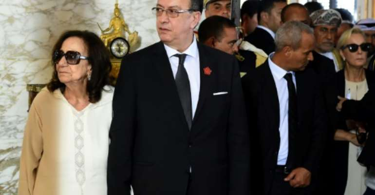 Chadlia Caid Essebsi and her son Hafedh welcomed world leaders who travelled to Tunisia to pay their respects to the late president Beji Caid Essebsi in July.  By FETHI BELAID (POOL/AFP/File)