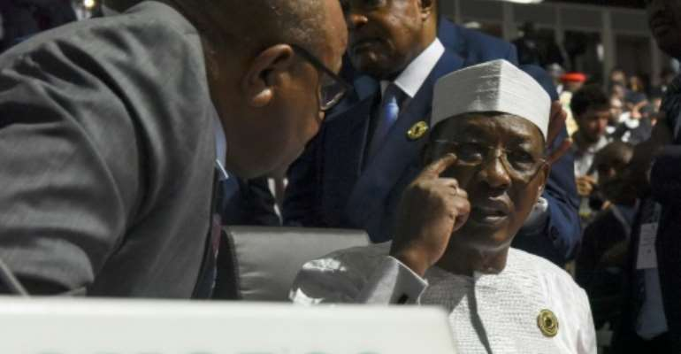 Chad's President Idriss Deby, pictured (R) July 7, 2019, has said he was lifting social media restrictions imposed more than a year ago for