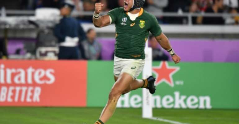 Cheslin Kolbe scored three tries at the 2019 Rugby World Cup.  By Kazuhiro NOGI (AFP/File)