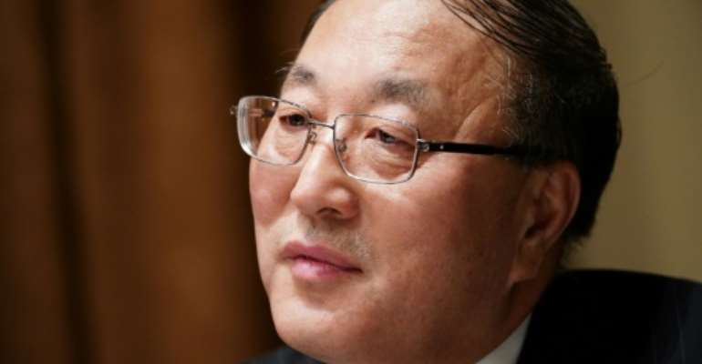 China's ambassador to the United Nations, Zhang Jun, seen here in December 2019, has sharply criticized the United States over its criticism on the coronavirus.  By MANDEL NGAN (AFP/File)