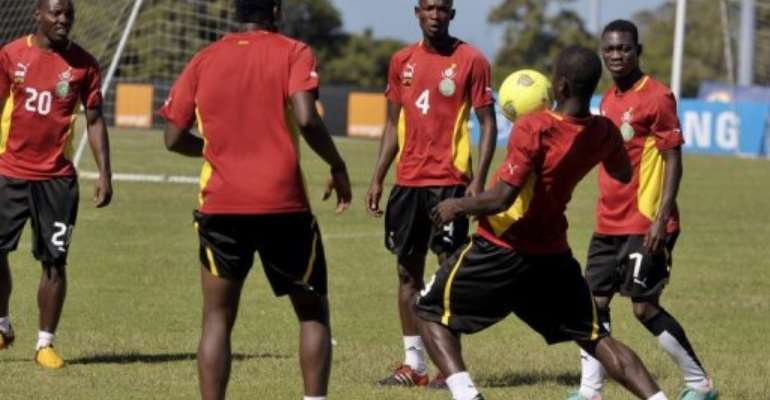 Ghana's national team, 'Black Stars,' pictured during a training session in Port Elizabeth, on February 1, 2013.  By Issouf Sanogo (AFP)