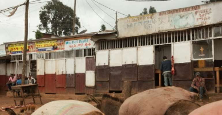 Closed shops in Burayu town, about ten kilometres from Addis Ababa in Oromia regional state.  By  (AFP)