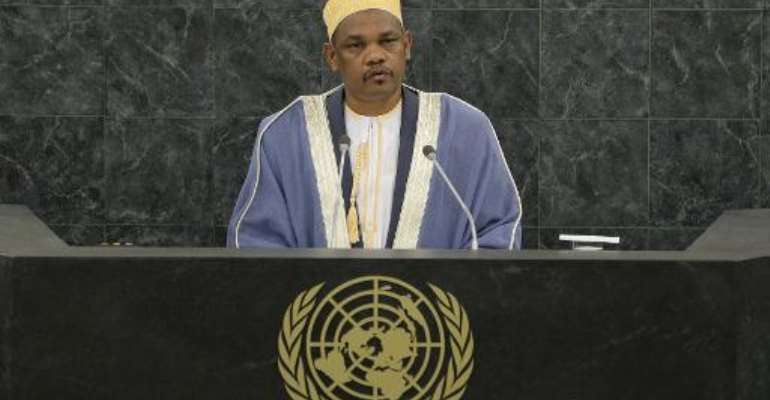 Comoros President Ikililou Dhoinine speaks at the 68th UN General Assembly on September 25, 2013, in New York.  By Andrew Burton (Pool/AFP/File)