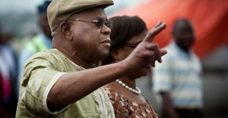 Etienne Tshisekedi arrives at Goma airport, North-Kivu province.  By Gwenn Dubourthoumieu (AFP)
