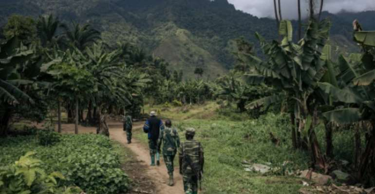 Congolese soldiers on patrol: President Felix Tshisekedi proclaimed a