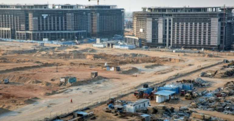 Construction of ministerial buildings at the governmental district in the new administrative capital, some 50 kilometres east of the capital Cairo.  By PEDRO COSTA GOMES (AFP)