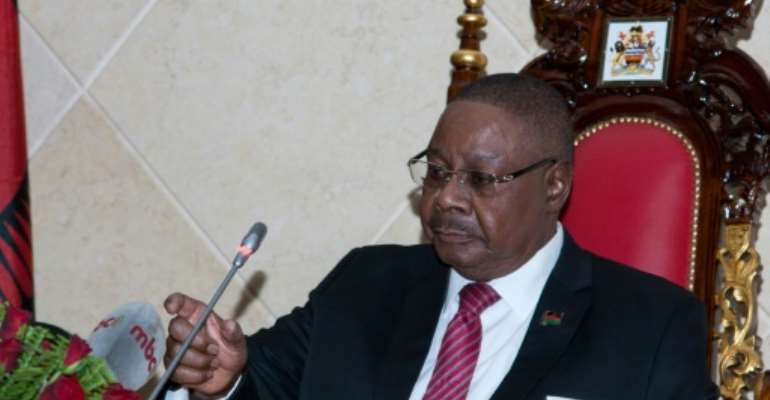 Contested election: President Peter Mutharika was declared victor by a margin of around three percentage points.  By AMOS GUMULIRA (AFP)