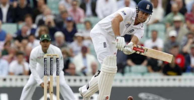 Alastair Cook hits a shot.  By Ian Kington (AFP/File)