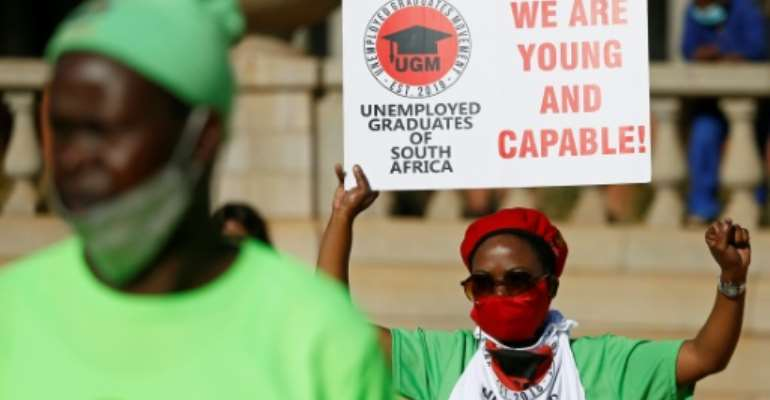 Coronavirus restrictions have battered South Africa's economy - nearly a third of the workforce is jobless.  By Phill Magakoe (AFP)