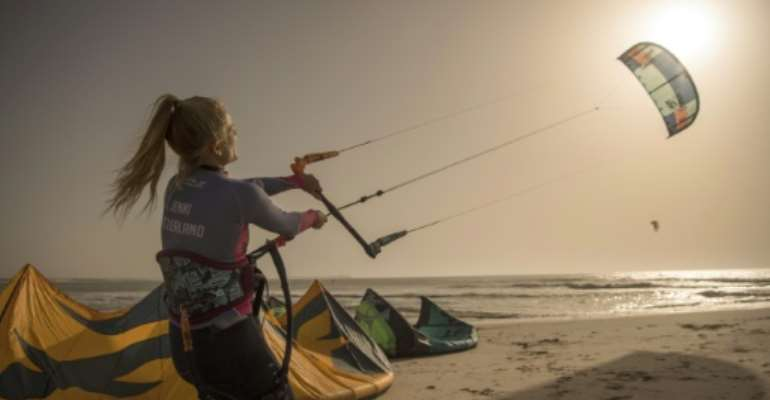 Dakhla, a former garrison town in the heart of disputed Western Sahara, has become popular with kitesurfers of all nationalities.  By FADEL SENNA (AFP)