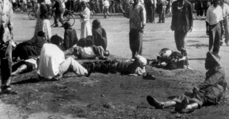 Day of blood: Sixty-nine people were killed and scores were wounded in the Sharpeville Massacre, a turning point in the history of apartheid.  By STR (AFP/File)