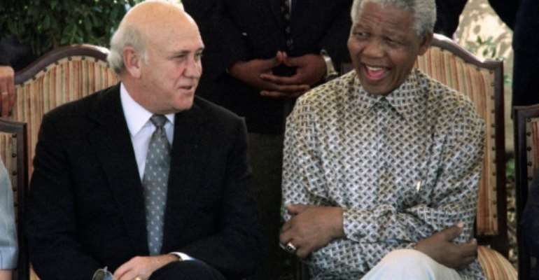 De Klerk set in motion the demise of the country's racist regime in 1990 when he ordered anti-apartheid hero Nelson Mandela's release from prison and later served under him in a unity government.  By Gary BERNARD (AFP)