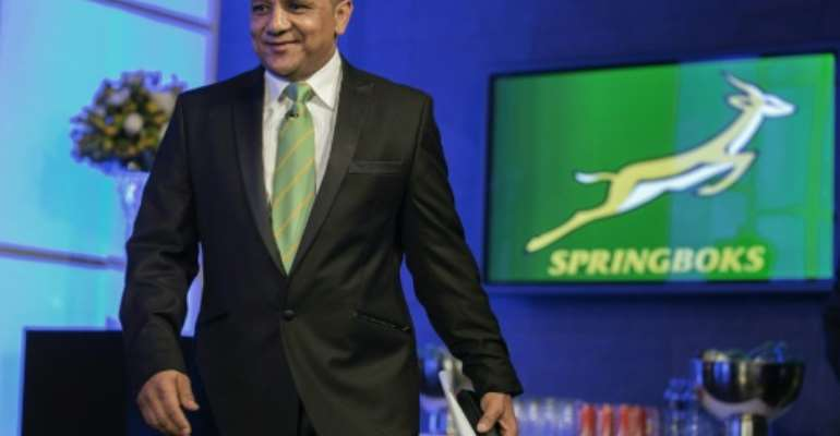 Newly appointed Springboks coach Allister Coetzee, who in 2001 became the first black coach of a South African provincial side, included five black players in his starting XV to play Ireland.  By Gianluigi Guercia (AFP/File)