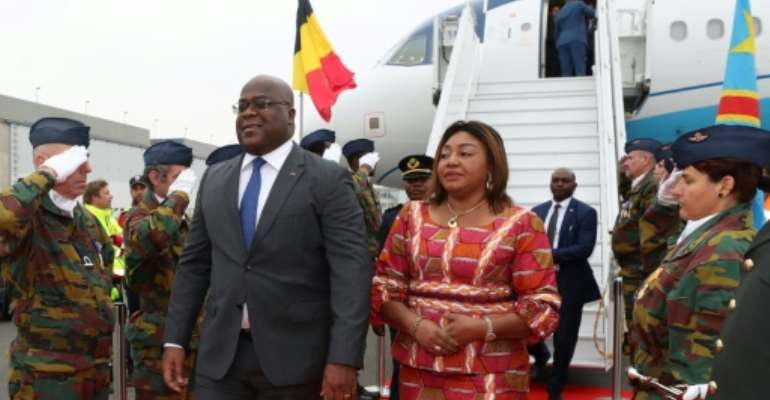 Democratic Republic of Congo's President Felix Tshisekedi and his wife Denise arrive for an official visit in Belgium at the Melsbroek military airport..  By Benoit DOPPAGNE (POOL/AFP)