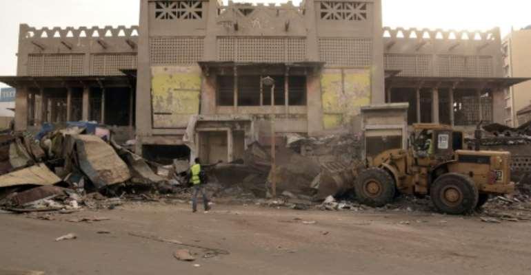 Demolition work at the Sandaga market in Dakar began last week.  By Seyllou (AFP)