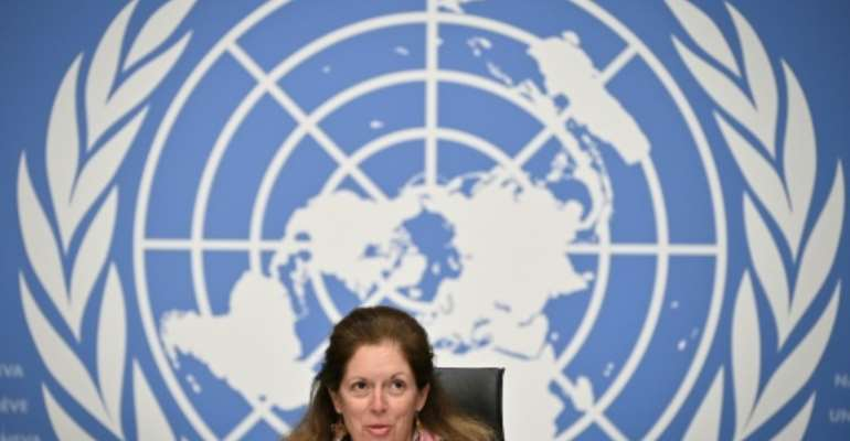 Deputy Special Representative of the UN Secretary-General for Political Affairs in Libya Stephanie Williams speaks during a press conference in Geneva on February 5, following the election of a new interim government for Libya.  By Fabrice COFFRINI (AFP/File)
