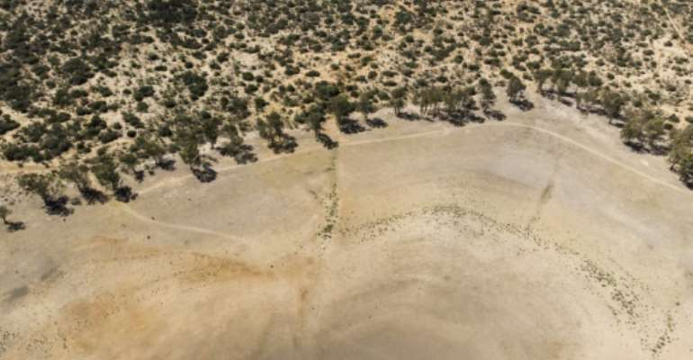 Dessicated: An aerial view of Adelaide Dam in Eastern Cape Province, gripped by a brutal drought.  By Guillem Sartorio (AFP)