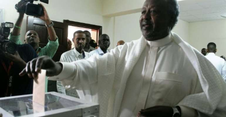 Djibouti's President Ismail Omar Guelleh won 86.68 percent of ballots in the presidential election, according to the interior ministry.  By Houssein I. Hersi (cds/AFP)