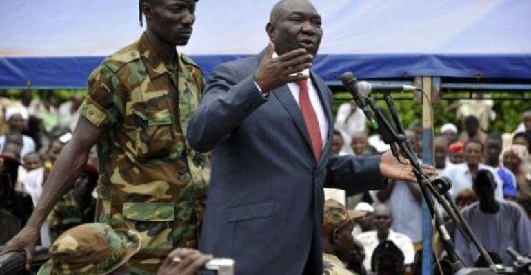 Michel Djotodia speaks on Republic Plaza in Bangui on March 30, 2013.  By Sia Kambou (AFP)