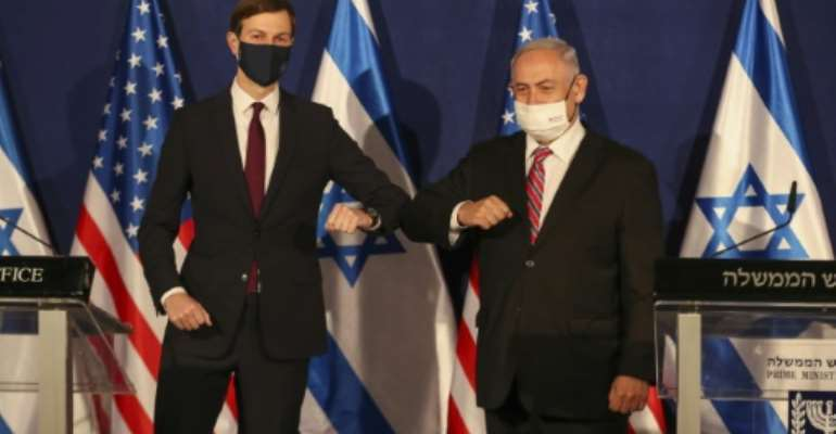 Donald Trump's son-in-law and advisor Jared Kushner, left, met Israeli Prime Minister Benjamin Netanyahu on Monday in Jerusalem.  By RONEN ZVULUN (X90084/AFP/File)