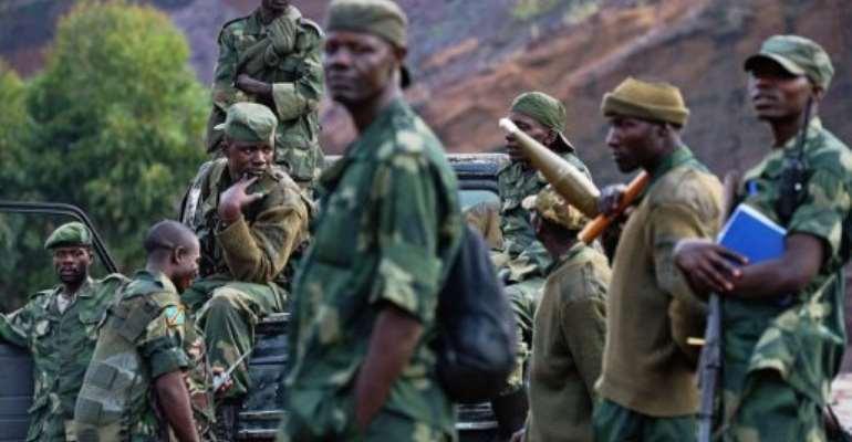 Democratic Republic of Congo (FARDC) soldiers deployed near Goma on September 4, 2013.  By Carl de Souza (AFP/File)