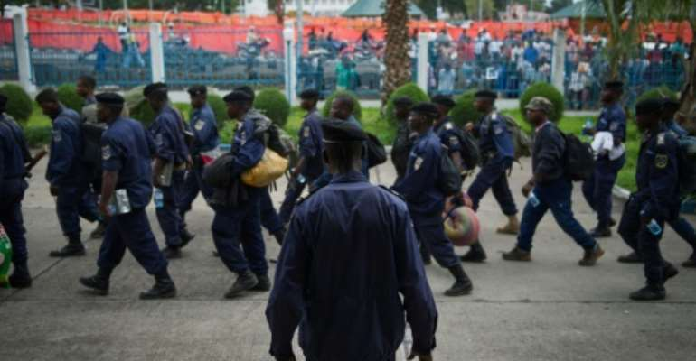 Congolese police patrol the streets of Goma in 2012.  By Phil Moore (AFP)