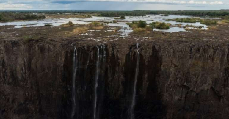 Drought in Zimbabwe reduced the mighty Victoria Falls to a relative trickle last month.  By ZINYANGE AUNTONY (AFP)