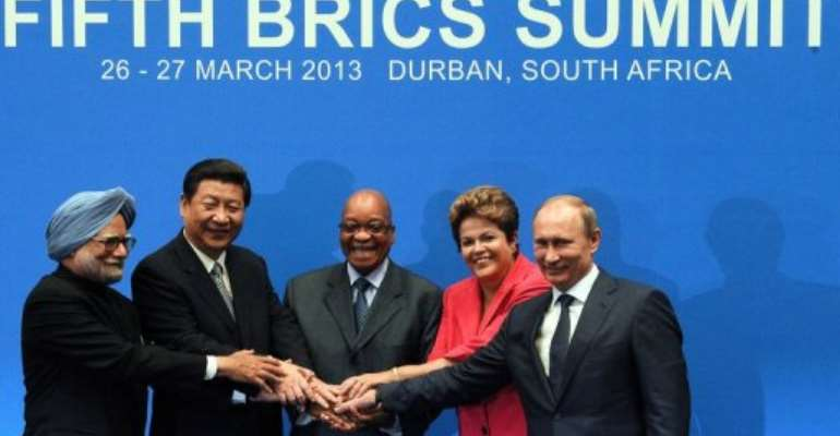Leaders from the BRICS group of emerging powers, Durban, South Africa, March 27, 2013.  By Alexander Joe (AFP/File)