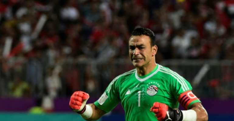 Egypt goalkeeper Essam el Hadary is the oldest player at 45 to feature in an Africa Cup of Nations finals match.  By KHALED DESOUKI (AFP/File)