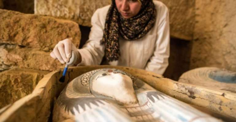 Egypt has unveiled a 4,500-year-old burial ground near the Giza pyramids.  By MAHMOUD KHALED (AFP)