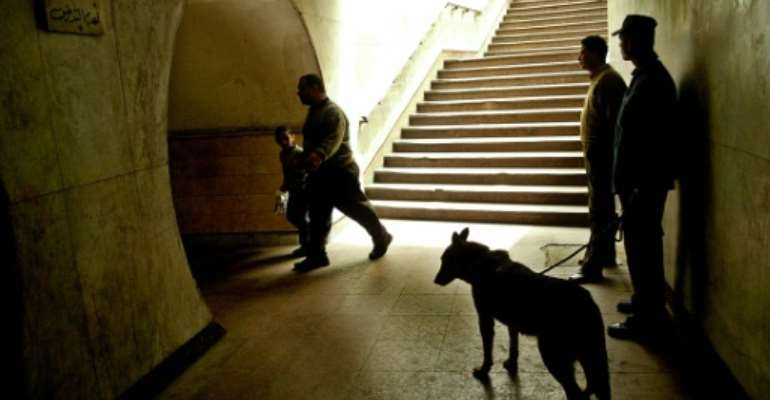 Egyptian policemen  are pictured working with an explosive sniffer dog  in 2005.  By  (AFP/File)