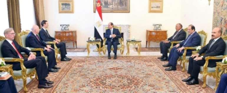 Egyptian President Abdel Fattah al-Sisi (C) met Thursday with US advisor Jared Kushner (3rd-L), shown here in an photo released by Sisi's office.  By STRINGER (EGYPTIAN PRESIDENCY/AFP)
