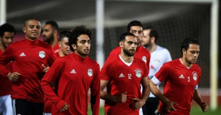 Egypt's players take part in a training session in Port-Gentil on January 22, 2017, during the 2017 Africa Cup of Nations tournament in Gabon.  By Justin TALLIS (AFP/File)
