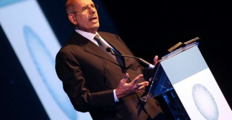 Mohamed ElBaradei won a quarter of the votes in an online poll for the next Egyptian president.  By Karim Sahib (AFP/File)
