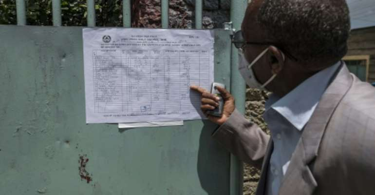 Election results posted at a polling station in the city of Mekele.  By EDUARDO SOTERAS (AFP)