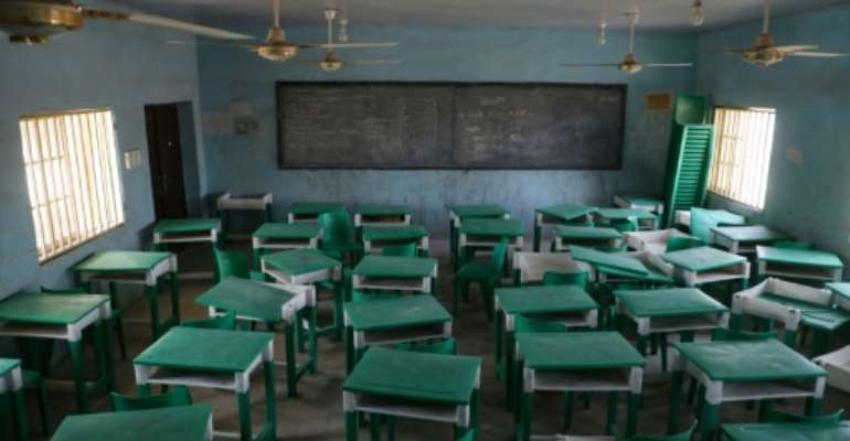 Empty: A deserted classroom at the Government Girls Secondary School in Jangebe.  By Kola Sulaimon (AFP)