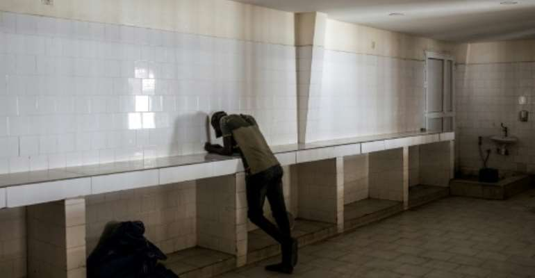 Empty: The export dispatch hall at Dakar's fishing wharf.  By JOHN WESSELS (AFP)