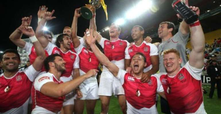 England celebrate winning the cup final at the IRB Rugby Sevens World Series in Wellington on February 2, 2013.  By Marty Melville (AFP)