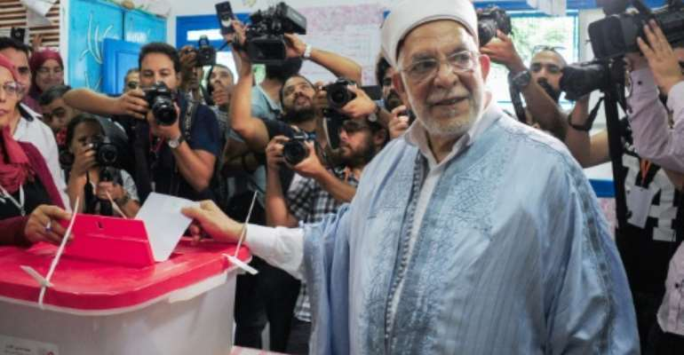 Ennahdha's presidential candidate Abdelfattah Mourou came third -- a disappointing result for the largest party in parliament.  By MOHAMED KHALIL (AFP)