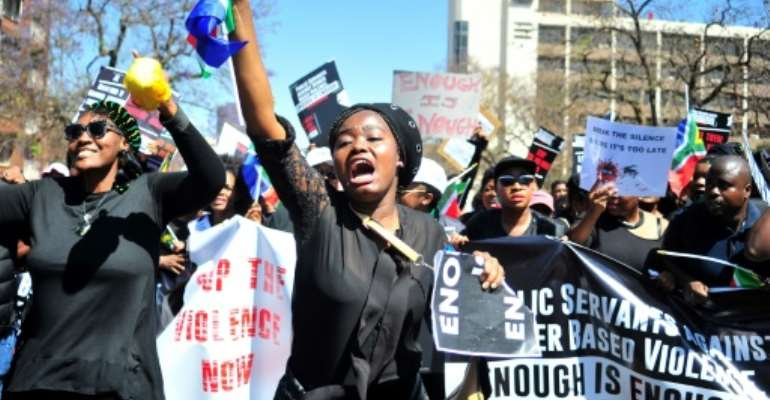 Enough is enough: A protest march in Pretoria in September.  By Phill Magakoe (AFP)