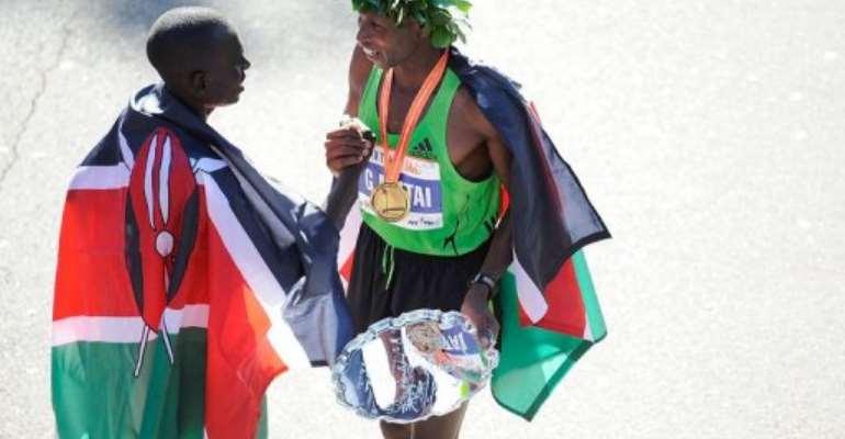 Geoffrey Mutai of Kenya (R) and Emmanuel Mutai of Kenya.  By Patrick Mcdermott (AFP/Getty Images/File)