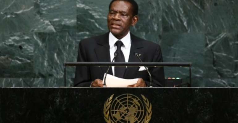 Equatorial Guinea's President Teodoro Obiang Nguema addresses the 72nd Session of the United Nations General assembly in New York on September 21, 2017.  By Jewel SAMAD (AFP/File)